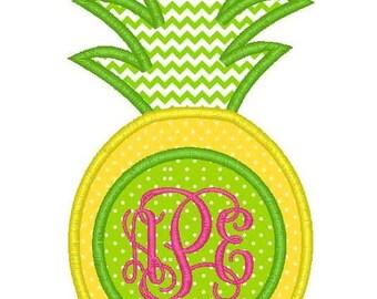 Pineapple Monogram Machine Embroidery Applique Design