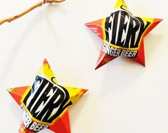 Idris Fiery Ginger Beer,  Christmas Ornament, Recycled, Upcycled, Decor, Star from Can