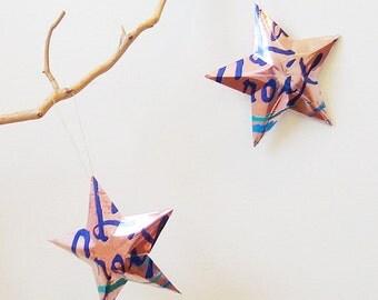 La Croix Cran Raspberry Stars, Christmas Ornaments, Aluminum Can Upcycled