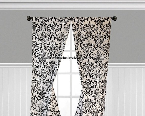 Black And White Curtains Floral Damask By Exclusiveelements