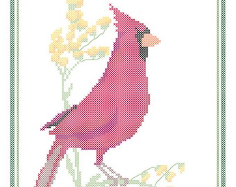 Kentucky State Bird, Flower and Motto Cross Stitch Pattern PDF