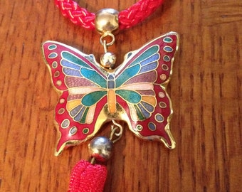 Cloisonne Butterfly Necklace Red