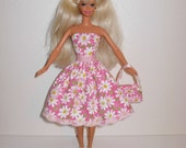 Handmade barbie clothes, CUTE Daisy dress and bag 4 barbie doll