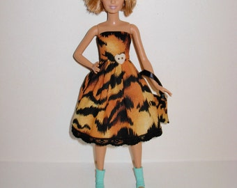 Handmade barbie clothes, CUTE dress and bag for new barbie petite doll