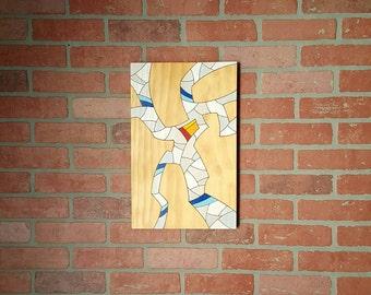 "Original Abstract art Modern art - Wood burned - Pyrography - Prismacolor pencils - 11.25"" x 17.5"" Modern home decor - Fine craft 2D art"