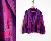 Vintage 1980s-90s Purples and Pinks Tribal Inspired Vertical Striped Blazer