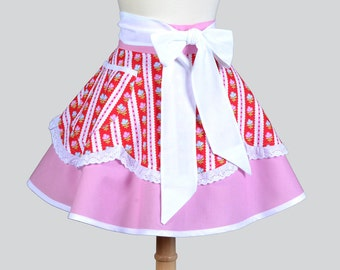 Womens Waist Aprons / Bonnie and Camille Red Rose Stripe Floral with a Retro Scalloped Hemline Trimmed in Eyelet Cute Retro Waist Half Apron