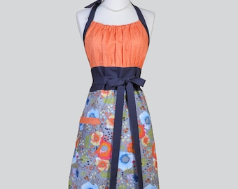 Cute Kitsch - Retro Chef Apron in Modern Orange Blue and Gray Painterly Floral Makes an Ideal Hostess Gift for Her