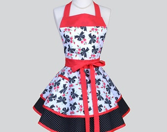 Ruffled Retro Apron / Black Red and White Floral Roses and Polka Dot Bows Retro Womens Apron Ideal to Personalize or Monogram Gifts for Her