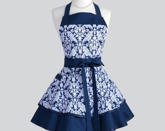 Ruffled Retro - Navy Blue and White Damask Womens Cooking or Wedding Apron Ideal to Personalize or Monogram