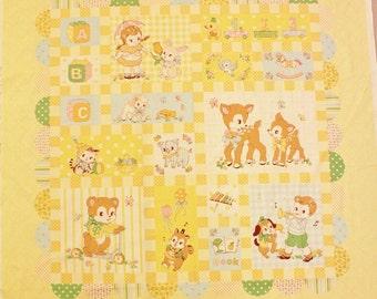 Yuwa Vintage Inspired Retro Baby Quilt Panel  Cotton Fabric AT822183C Atsuko Matsuyama