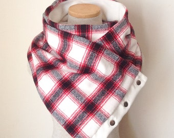 Unisex - Cream Red and Grey Plaid Snap Scarf