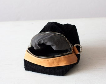 Cosmetic case, makeup bag in black corduroy and tan leather accessory bag utility bag zipper pouch  - Cube