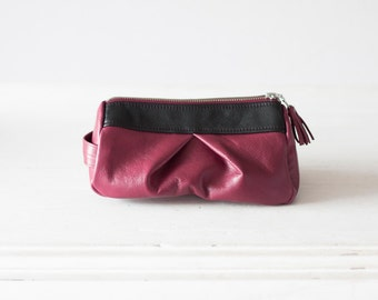 Red violet leather makeup bag, accessory case cosmetic bag zipper pouch utility bag vanity storage - Estia Bag