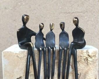 Custom Family Portrait: bronze sculpture 3d family portrait for the mantelpiece, altar, or hearth
