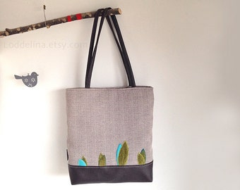 TOTE bag in grey canvas and dark brown faux leather with floral applique