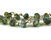 Labradorite Bracelet, Blue Flash Gold Bracelet, Gemstone Bracelet- ccsdesigns01