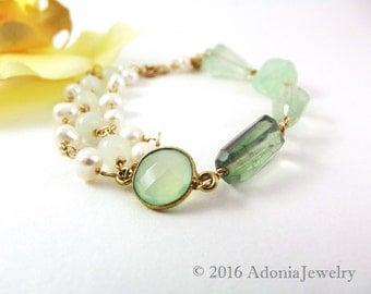 Multi Strand Gemstone Bracelet - Florite, Pearl, Jade, Prehnite - AdoniaJewelry