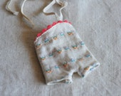 "Ginny size teeny swimsuit or bathing suit, squee! White and orange, 8"" doll"