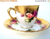 VALENTINES SALE Vintage Royal Chelsea Bone China Demitasse Cup and Saucer,Golden Rose,English,Gilt with Roses,Footed,1950s,Dining Serving,Te