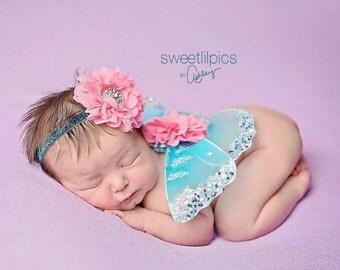 Newborn Butterfly Wings, Turquoise and Pink, Luxe Fancy Fairy Wings, Newborn Headband, Infant Headband, Photographer Prop, Newborn Photos