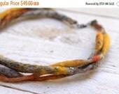 SALE SALE SALE Soft Fiber Necklace --- Ooak Merino wool Autumn Jewlery --- Tagt Team