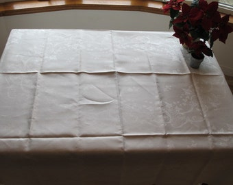Damask Tablecloth Vintage Unused Ivy and Scroll Design White Heavy Linen c.1920s-1940s