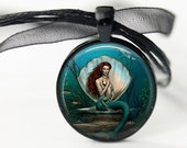 Mermaid and Child Shell Pendant, Little Mermaid Baby, Teal Mermaid, Round Necklace, Mother & Child Art Pendant, choice of finish and chain