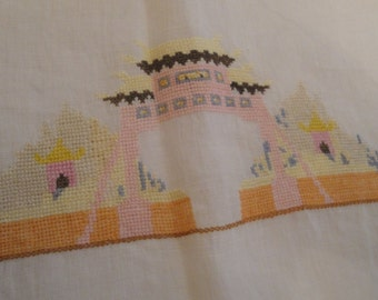 Vintage Table Runner Cross Stitch Linen Eastern Chinese