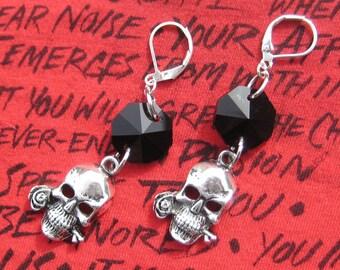 Skull Rose, Black Crystal Earrings, Skull and Roses, Skull Jewelry, Black Crystal Skull, Skull Biting Rose, Edgy Earrings, Punk Earrings