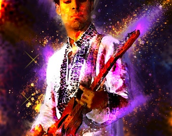 8.5 x 11 P guitar Custom Glittery Art Print Digital Painting Without frame Unframed Purchase frame separately.