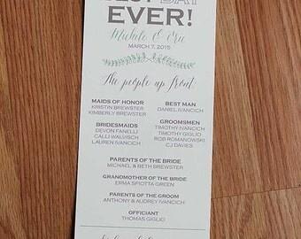 Wedding Program, ceremony program, best day ever program,