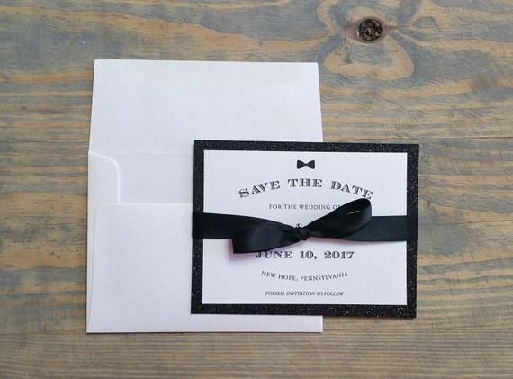 black bowtie save the date, bowtie save the date, classic save the date, shimmer save the date, shimmer, black, glitter, bowtie, bow tie