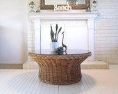 Vintage Wicker Coffee Table, Round, Boho