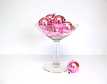 Glass Christmas Tree Ornaments,  Pink Ornaments, Vintage Holiday Decorating, Valentines, Wedding Decor