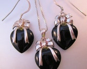 Onyx Heart Ribbon Pendant Necklace & Earrings Set Signed A Black Sterling Silver Vintage Jewelry Jewellery