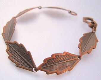 Vintage Solid Copper Leaf Link Bracelet Jewelry Jewellery