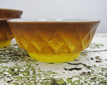 Vintage Fire King Kimberly pattern bowls yellow brown set of 3