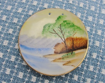 Tiny little trinket dish with beach scene Blume Made in Japan