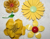 Lot of Four Vintage Yellow Brooches