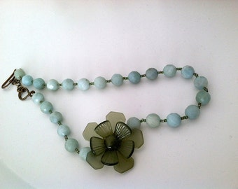 Anthropologie style vintage glass flower and blue bead necklace chunky statement for your wedding