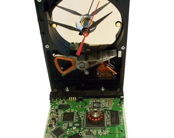 Hard Drive Clock with Controller Circuit Board Accenting the Base. Need Office Gift?