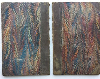 1860 Antique Loose Book Covers And End Papers