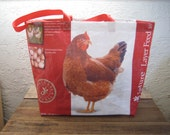 Extra Large Chicken Feed Tote Bag Purse - Recycled Upcycled Reusable