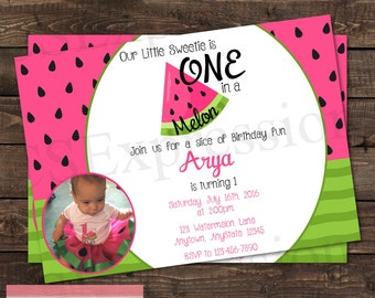 One in a Melon Pink and Green Watermelon Photo Birthday Party Invitation