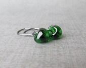 Emerald Green Small Dangle Earrings, Oxidized Sterling Silver Wire Earrings, Dark Green Earrings, Small Earrings, Green Lampwork Earrings