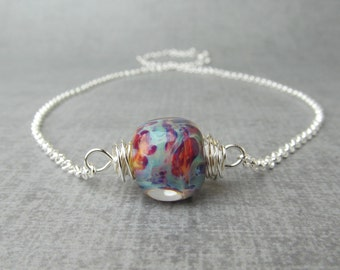 Multicolor Lampwork Necklace, Lampwork Pendant Necklace, Silver Wire Wrapped Glass Necklace, Sterling Silver Necklace, Adjustable Necklace