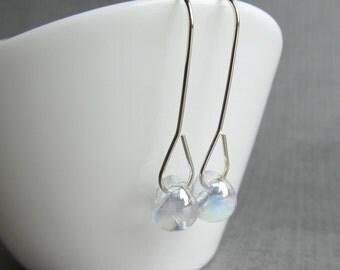 Dichroic Clear Earrings, Modern Earrings, Clear Minimalist Earrings, Long Dangle Earrings, Sterling Silver Wire Earring, Clear Glass Earring