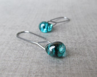 Modern Teal Earrings, Minimalist Dangle Earrings, Teal Dangles, Teal Green Earrings, Teal Lampwork Earrings, Dark Silver Wire Earrings