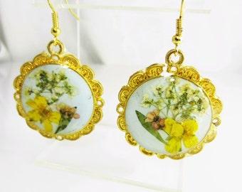 Victorian Glory Earrings,  Real Flowers Earrings,  Pressed Flower Jewelry, Resin (1782)